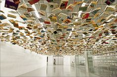 Suspended books in the entrance to the Istanbul museum of modern art
