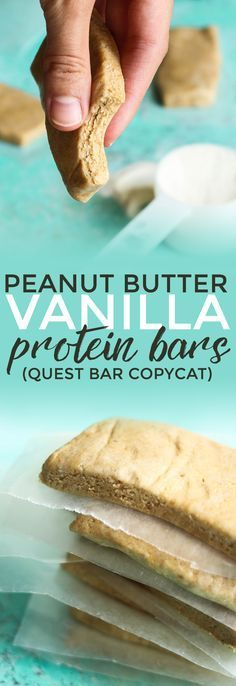 Peanut Butter Vanilla Protein Bars Only a few ingredients are needed for these protein bars which are clean eating friendly Pin now to make this healthy snack recipe late. Healthy Protein Snacks, Protein Bar Recipes, Protein Powder Recipes, Protein Bites, Protein Foods, Healthy Sweets, Snack Recipes, Protein Desserts, Keto Protein Bars