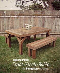 Build a Cedar Picnic Table Diy Picnic Table, Picnic Table Plans, Patio Table, Diy Table, Dining Table, Rustic Table, Cedar Furniture, Rustic Furniture, Painted Furniture
