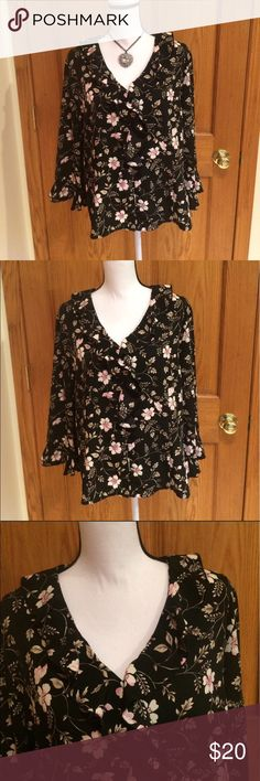"Sag Harbor Ruffled Blouse Black ,Ruffled floral Button Down Blouse. Ruffled sleeves, lightweight with silky feel. 100% polyester. Measurements approximately as follows: bust 48"" and length is 24.5"".  This Blouse is simply gorgeous. Sag Harbor Tops Blouses"