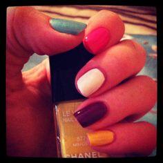 Multicolour nails <3 Multicoloured Nails, Nail Polish, My Style, Beauty, Nail Polishes, Polish, Beauty Illustration, Manicure, Nail Polish Colors
