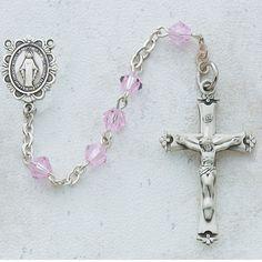 McVan Rhodium Silver Pink Cubic Zirconia Latin Cross Pendant Necklace and Earring Set