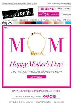 Charming Charlie Mother's Day email 2014