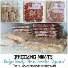 Freezing Meats - Budget Friendly, Portion Controlled, Organized.  Save money & meat by using these tips! | Dessert Now, Dinner Later! #chicken #beef #groundturkey