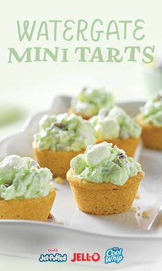 Pistachios, marshmallows, and Cool Whip? This unlikely trifecta is what makes our Watergate Mini Tarts impossible to resist. Plus they're so easy to make with JELL- O, COOL WHIP, and JET-PUFFED you can enjoy them as soon as you crave them—which we can't promise won't happen.