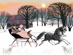 9x12 print  Sleigh Ride at Sunset by WHATinSAMhill on Etsy, $22.00