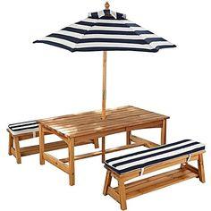 Outdoor Table U0026 Chair Set With Cushions U0026 Umbrella By KidKraft | Zanui