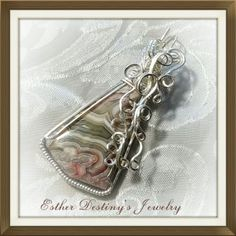 Mexican Crazy Lace Pendant Wire Wrapped and Sculpted in Sterling Silver