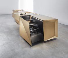 Steininger Fold. Kitchens in Their Pure Form Smart Kitchen, Kitchen And Bath, New Kitchen, Bauhaus, Brass Kitchen, Kitchen Models, Minimalist Kitchen, Küchen Design, Kitchen Countertops