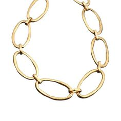 """large links  Vermeil gold  SIZE: Each link .85""""h x 1.7""""w  CLASP: Small covered hook  LENGTH: Adjusts from 16"""" to 18""""  Please allow 2-4 weeks for delivery."""