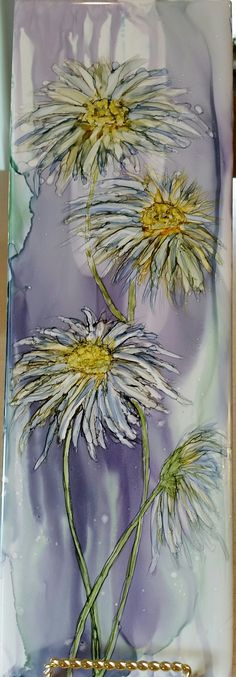 Daisy's in alcohol ink on 12x4 tile by Tina