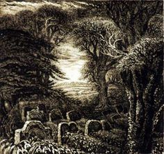 Gray's Elegy by Robin Tanner from the University of Warwick Art Collection University Of Warwick, Scratchboard, Rustic Art, Halloween Images, Love Illustration, Romanticism, Nature Paintings, Painting Inspiration, Prints