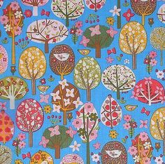 Pear Tree - funky retro patterned birds flowers trees denim blue cotton fabric
