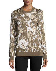 Jason Wu Long-Sleeve Printed Pullover, Army/Beige/Chalk, Women's, Size: S