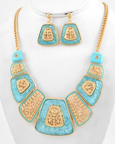 Be the Swirl to My Square Necklace and Earrings - Krimson and Klover a Women's Clothing Boutique