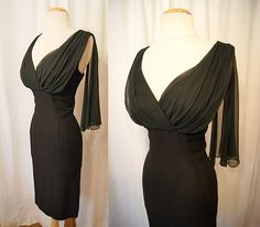 Sexy 1950's black rayon crepe wiggle cocktail dress by wearitagain, $148.00