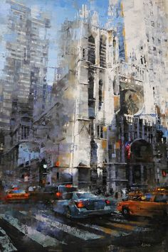 Saint Thomas on Fifth by Mark Lague, Oil, 36 x 24 Skyline Painting, Cityscape Art, City Painting, Oil Painting Abstract, Painting Canvas, Watercolor City, Watercolor Artists, Abstract City, Modern City