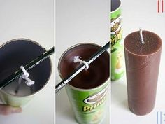 diy candles Making candles out of Pringles can(Diy Gifts Photo) Pringles Dose, Pringles Can, Homemade Candles, Homemade Gifts, Diy Gifts, Velas Diy, Candle Making Business, Candle Craft, Diy Candle Plate