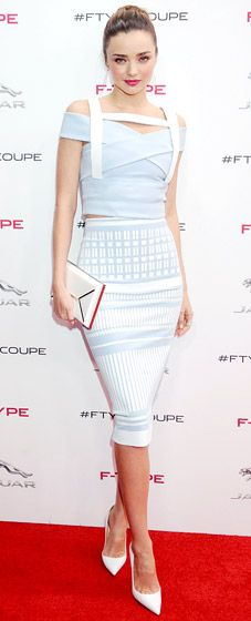 Miranda Kerr in an intricate white David Koma dress