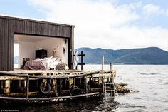 An old boathouse open to the elements on a remote island south of Tasmania.Kara-Rosenlund-Shelter-How-Australians-Live-Remodelista Australian Architecture, Australian Homes, Australian Beach, Contemporary Architecture, Bed And Breakfast, Kara Rosenlund, Destinations, Architecture Awards, Architecture Details