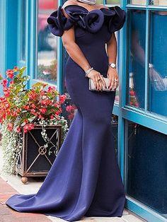 Floor-Length Sleeveless Off Shoulder Regular Mermaid Dress – dressiu African Lace Styles, African Lace Dresses, Latest African Fashion Dresses, African Print Fashion, Africa Fashion, Lace Dress Styles, African Fashion Designers, African Attire, Classy Dress