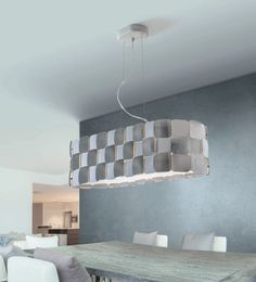 Wide corrugated Pieces Dining room Light...white and chrome.
