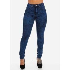High Waist Dark Acid Skinny Blue Jeans ($30) ❤ liked on Polyvore featuring jeans, pants, calças, skinny jeans, high waisted jeans, high rise jeans, blue jeans, super skinny jeans and high-waisted jeans