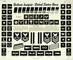 US Navy Uniform Insignia Poster, Love the lettering on that headline. The closest typeface I have found thus far is Hannes von Brandon Grotesque. Military Ranks, Military Insignia, Navy Military, Us Navy Insignia, United States Navy, Us Navy Uniforms, Military Uniforms, Badges, Navy Ranks