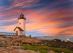 The Annisquam Lighthouse at dawn near Rockport Massachusetts.