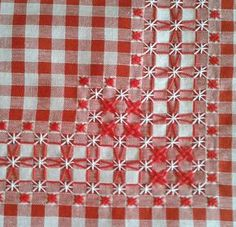 Elisaricamo: Nuovi ricami Red and white chicken scratch embroidery