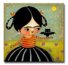 ORIGINAL Halloween Frida Kahlo with vampire BAT cute small acrylic painting by tascha