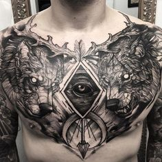 Wolf chest tattoo - 65 Nice Chest Tattoo Ideas <3 <3