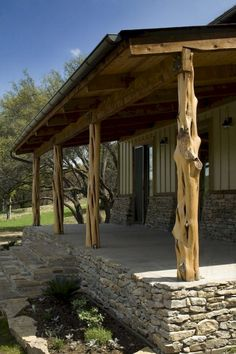 Stacked stone porch foundation and cedar posts.for a rustic look. - can this be used for a pergola? Building A Porch, Metal Building Homes, Building A House, Metal Homes, Stone Porches, Decks And Porches, Rustic Porches, Mobile Home Porch, Mobile Homes