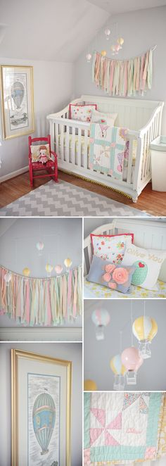 Pink, gray, and yellow nursery with beautiful bunting.