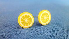 Tiny Lemon Stud Earrings via Etsy