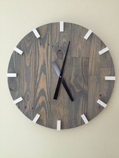 Large Gray Modern Wood Clock Pallet Wood Clock by OnTimeHome