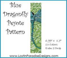 Blue Dragonfly Peyote Pattern (Buy 2 get 1 Free)