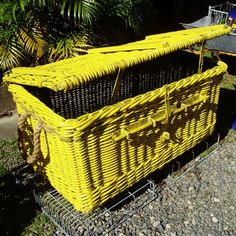 Upcycle an ugly old wicker trunk by painting it an eye-catching color and turning it into an outdoor storage unit for patio furniture cushions. No cushions to store? Line the trunk with plastic and fill it with ice to create a beer and wine cooler for outdoor entertaining.