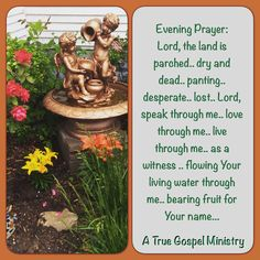 Evening Prayer: Lord, the land is parched.. dry and dead.. panting.. desperate.. lost.. Lord, speak through me.. love through me.. live through me.. as a witness .. flowing Your living water through me.. bearing fruit for Your name... #eveningprayer #atruegospelministry #quote #seekgod #godsword #godislove #gospel #jesus #jesussaves #teamjesus #LHBK #youthministry #preach #testify #pray #rollin4Christ