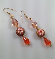 IBA Cloisonne and Faceted Glass Earrings by InspiredByAmber, $22.95