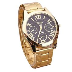 Luxury Fashion Women Ladies Watches Gold Stailess Steel Roman Numerals Analog Quartz Wrist Watch Goldblack >>> To view further for this item, visit the image link.