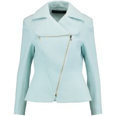 Roland Mouret Yelverton wool-crepe jacket (3,015 ILS) ❤ liked on Polyvore featuring outerwear, jackets, sky blue, faux-leather jackets, roland mouret, zipper jacket, blue zipper jacket and asymmetrical zipper jacket