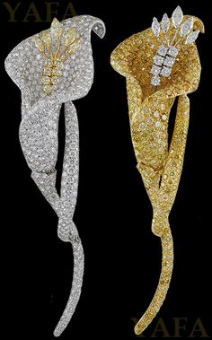 DAVID WEBB Diamond and Colored Diamond Flower Brooches