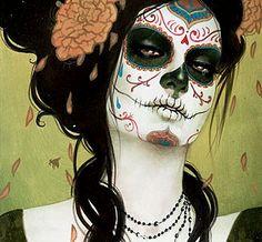 "La Calavera Catrina (""Elegant Skull""), icon of the Mexican Día de los Muertos, or Day of the Dead. Halloween Kostüm, Halloween Costumes, Halloween Face Makeup, Ghost Costumes, Halloween Tutorial, Maquillage Sugar Skull, Sylvia Ji, Photoshoot Idea, Catrina Tattoo"
