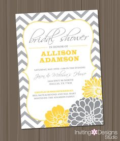 Bridal Shower Invitation, Chevron, Yellow, Grey (PRINTABLE FILE) on Etsy, $18.00