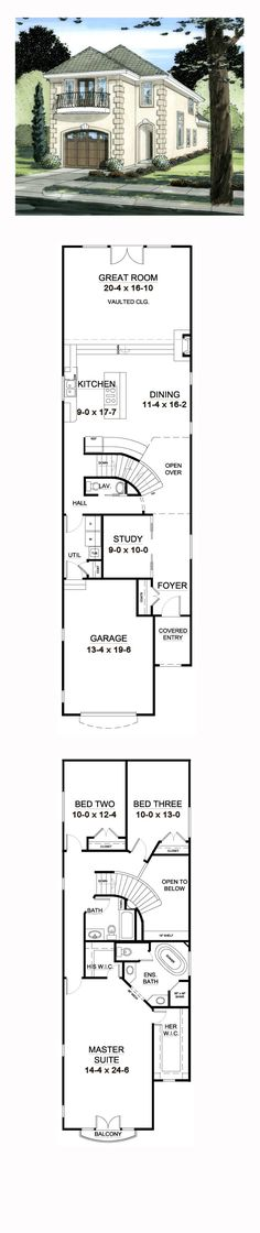 Narrow Lot House Plan 9997 | Total Living Area: 2321 sq. ft., 3 bedrooms and 2.5 bathrooms. #narrowlot