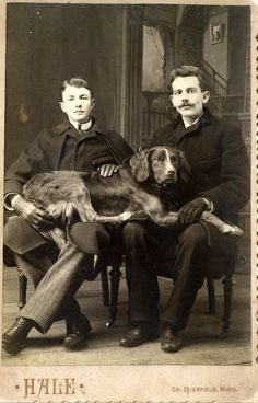 VINTAGE PHOTO from Massachusetts-- Do you think maybe they love their dog?    :-)
