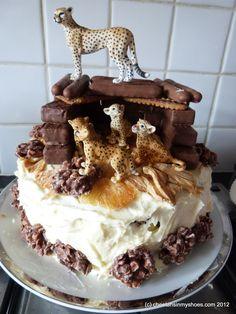 Cheetah Birthday cake based on the Cheetah Rock enclosure at Whipsnade Zoo