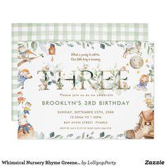 Whimsical Nursery Rhyme Greenery 3rd Birthday Invitation