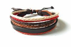 bangle leather bracelet ropes bracelet men by jewelrybraceletcuff, $4.49